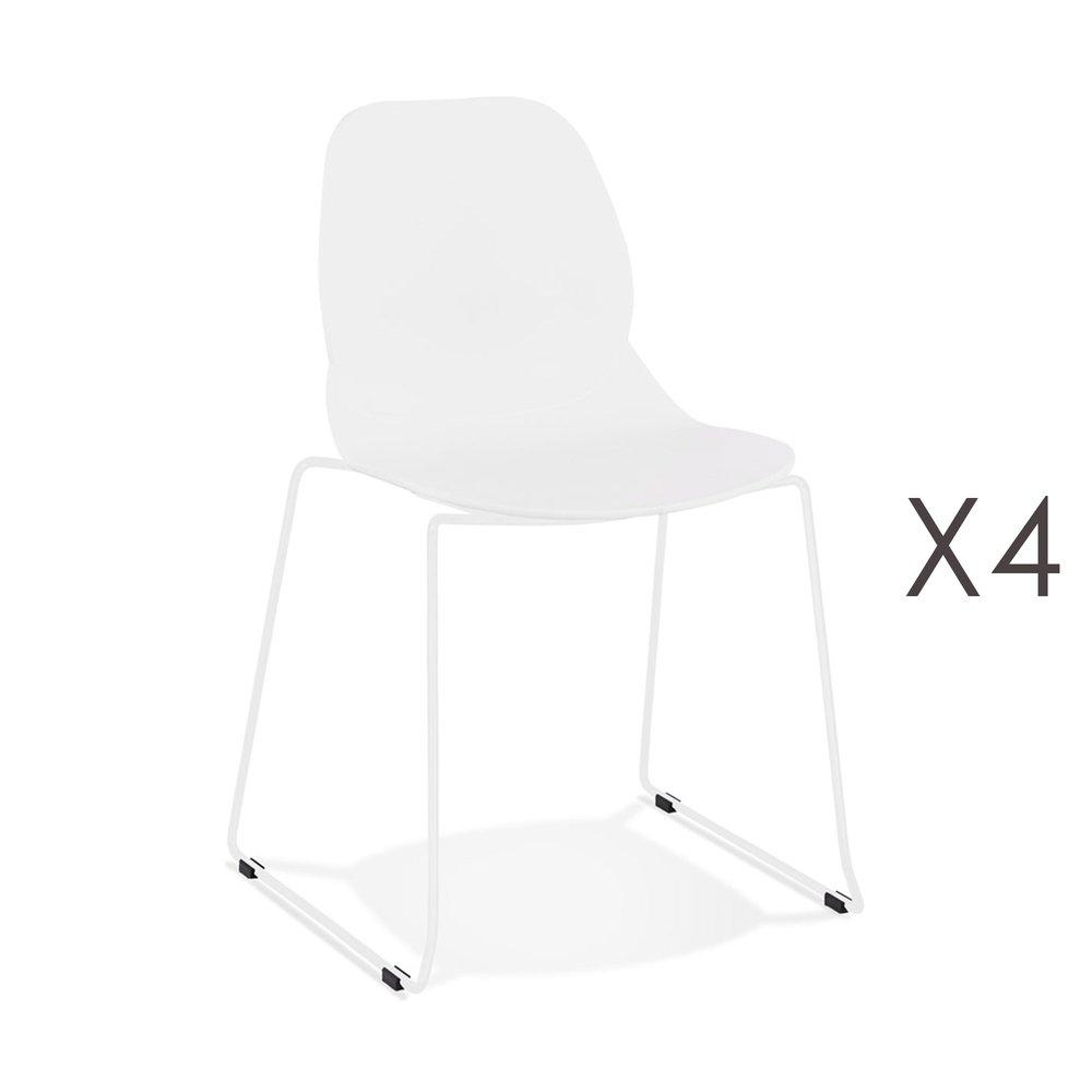 Chaise - Lot de 4 chaises repas 54x50x85 cm blanches et pieds blancs - LAYNA photo 1