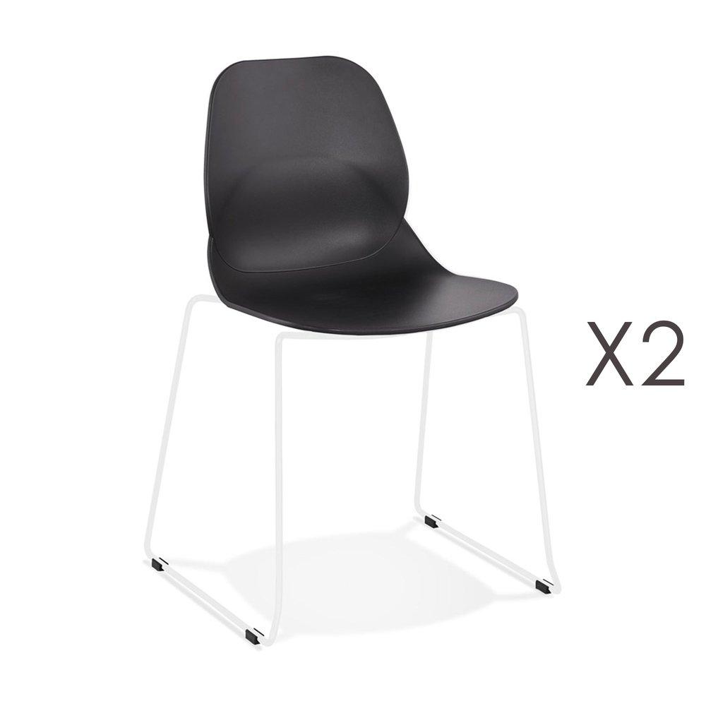 Chaise - Lot de 2 chaises repas 54x50x85 cm noires et pieds blancs - LAYNA photo 1