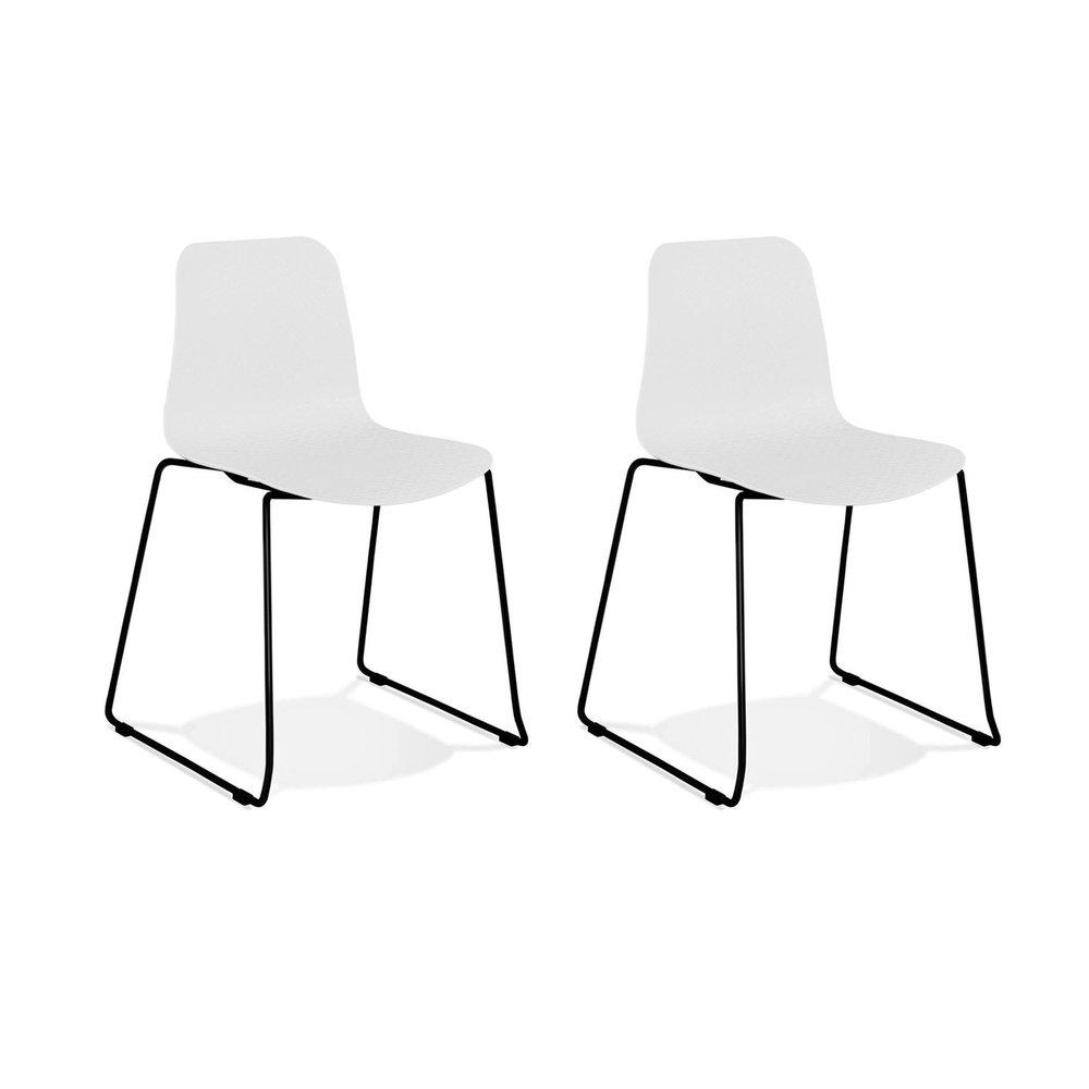 Chaise - Lot de 2 chaises repas 55x50x82,5 cm blanches et pieds noirs - LAYNA photo 1