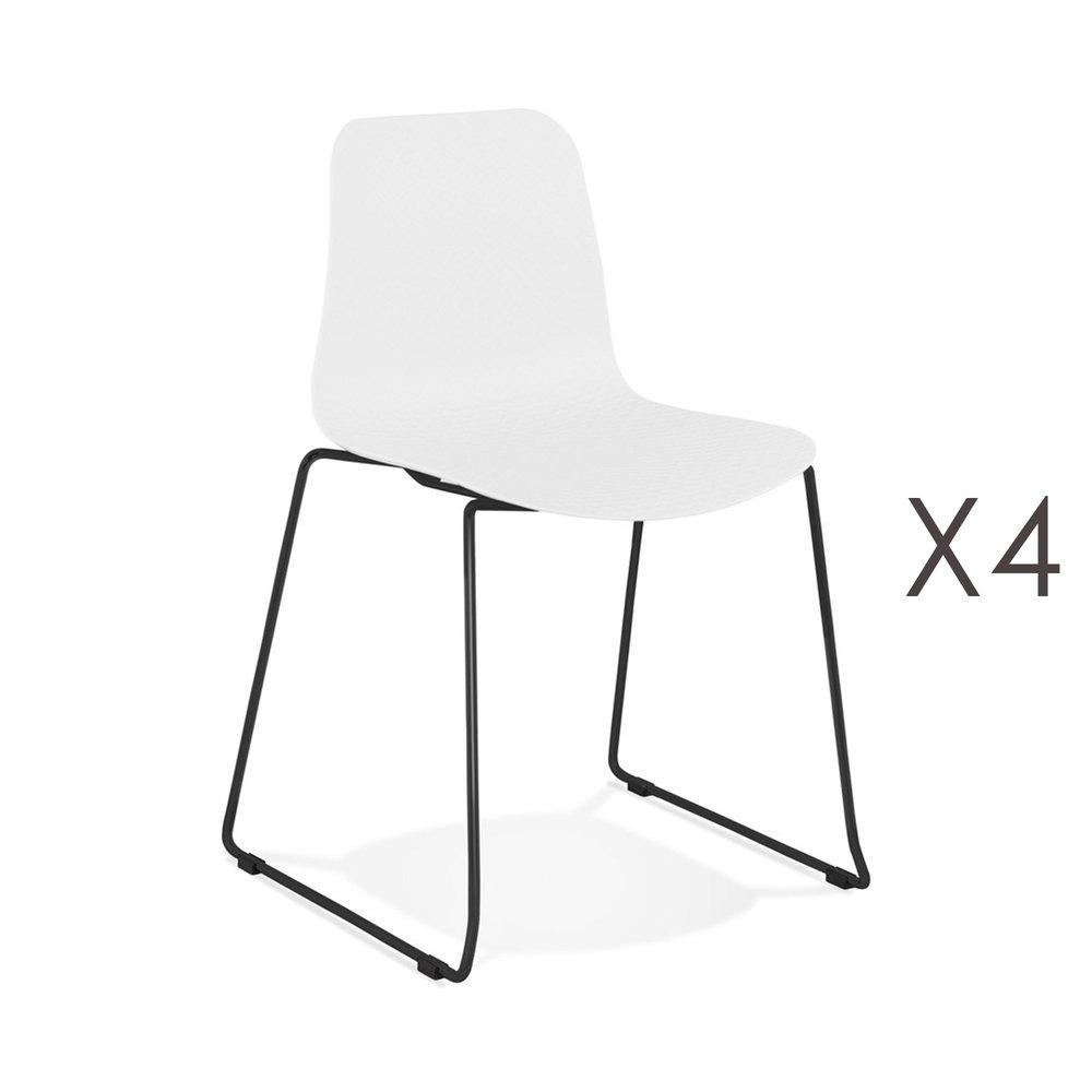Chaise - Lot de 4 chaises repas 55x50x82,5 cm blanches et pieds noirs - LAYNA photo 1