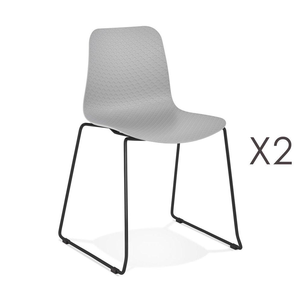 Chaise - Lot de 2 chaises repas 55x50x82,5 cm grises et pieds noirs - LAYNA photo 1