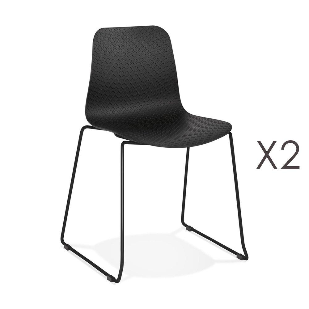 Chaise - Lot de 2 chaises repas 55x50x82,5 cm noires et pieds noirs - LAYNA photo 1