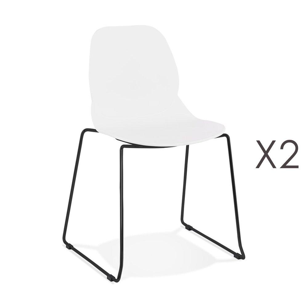 Chaise - Lot de 2 chaises repas 54x50x85 cm blanches et pieds noirs - LAYNA photo 1