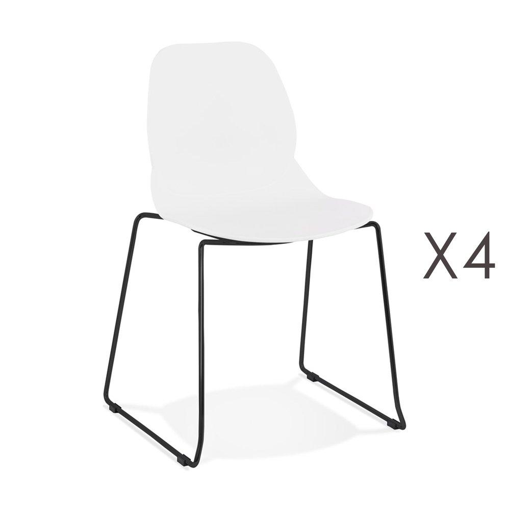 Chaise - Lot de 4 chaises repas 54x50x85 cm blanches et pieds noirs - LAYNA photo 1