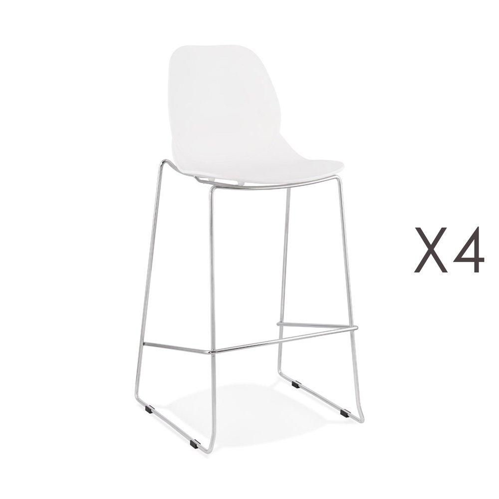 Tabouret de bar - Lot de 4 chaises de bar 52x51,5x111 cm blanches pieds chromés - LAYNA photo 1