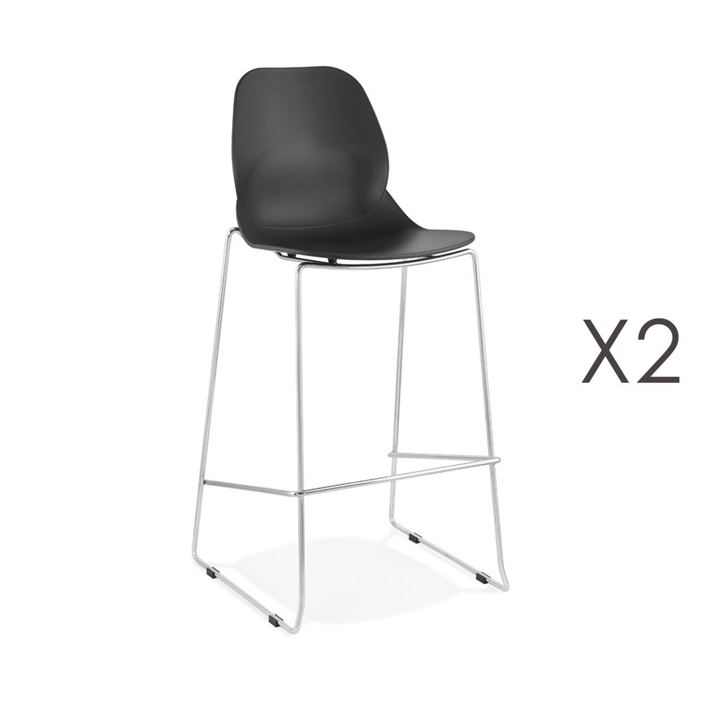 Tabouret de bar - Lot de 2 chaises de bar 52x51,5x111 cm noires pieds chromés - LAYNA photo 1