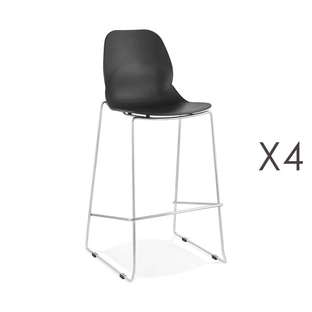 Tabouret de bar - Lot de 4 chaises de bar 52x51,5x111 cm noires pieds chromés - LAYNA photo 1