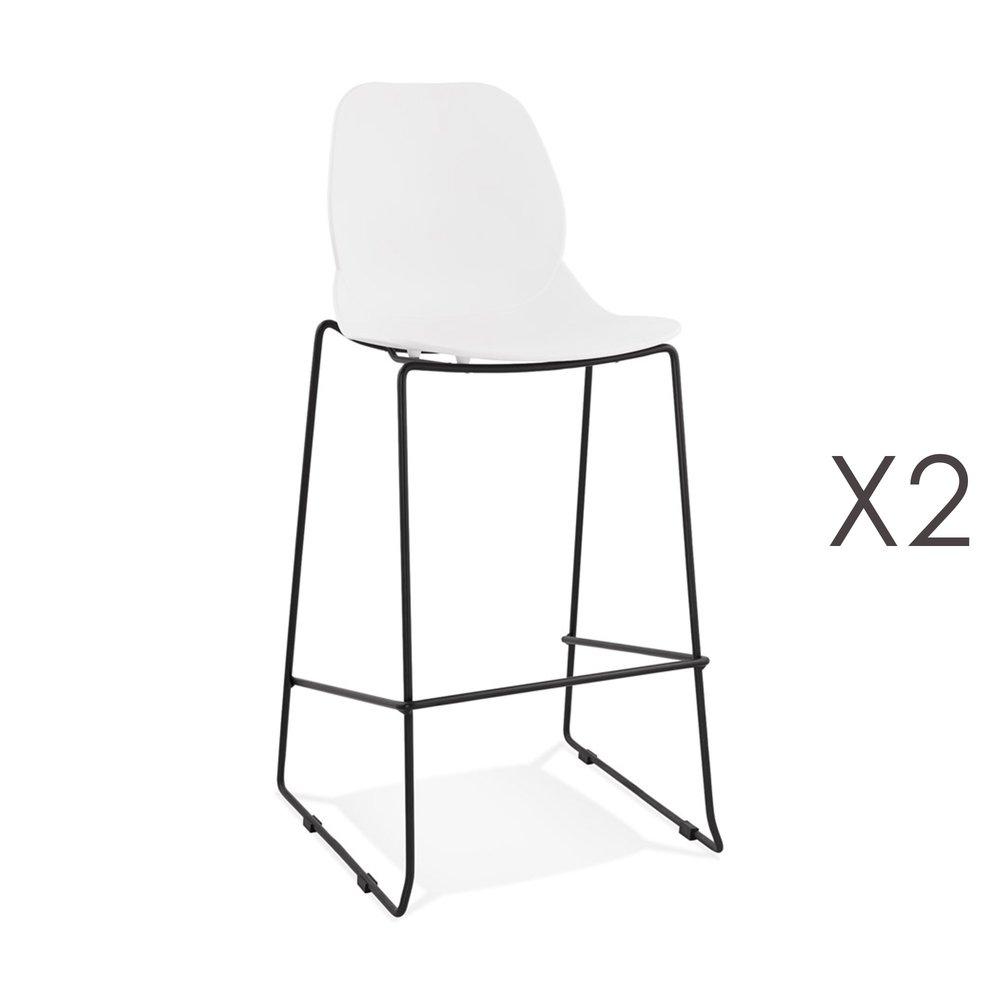 Tabouret de bar - Lot de 2 chaises de bar 52x51,5x111 cm blanches pieds noirs - LAYNA photo 1