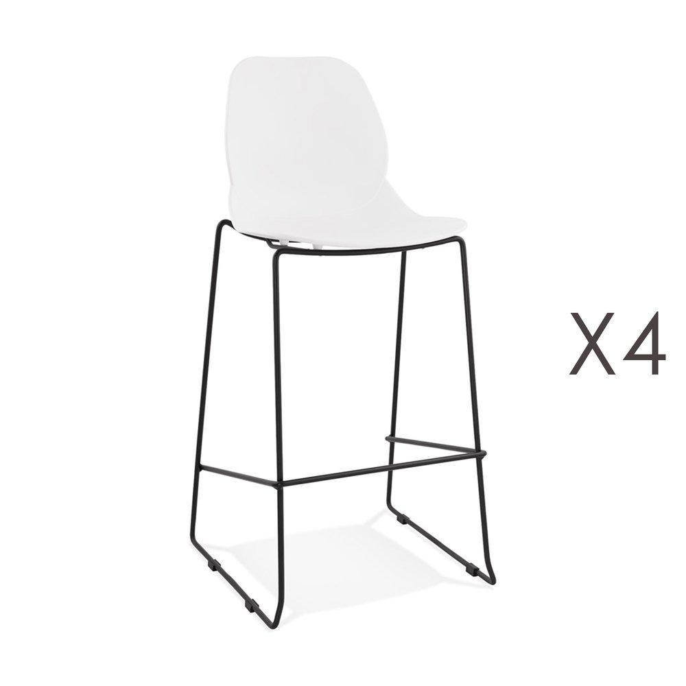 Tabouret de bar - Lot de 4 chaises de bar 52x51,5x111 cm blanches pieds noirs - LAYNA photo 1