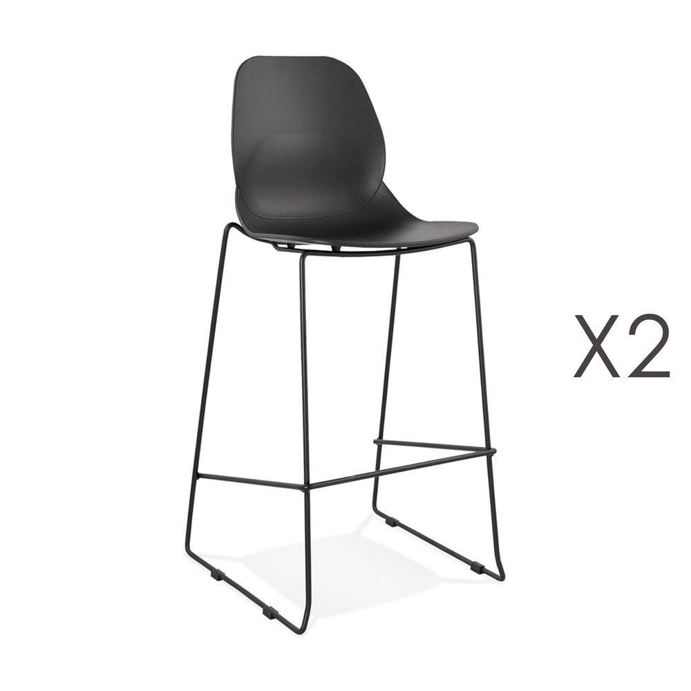 Tabouret de bar - Lot de 2 chaises de bar 52x51,5x111 cm noires pieds noirs - LAYNA photo 1