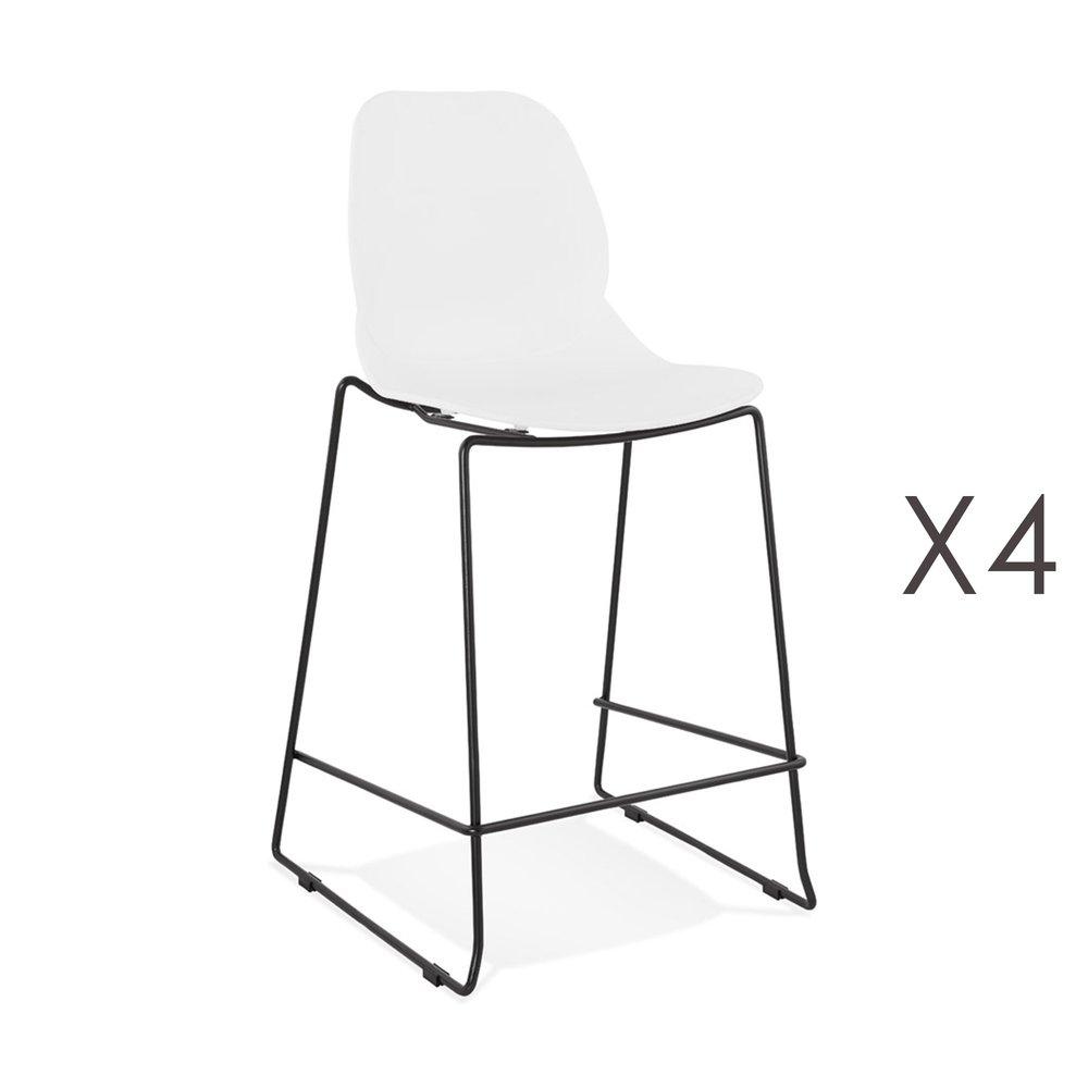 Tabouret de bar - Lot de 4 chaises de bar 52x51,5x101 cm blanches pieds noirs - LAYNA photo 1