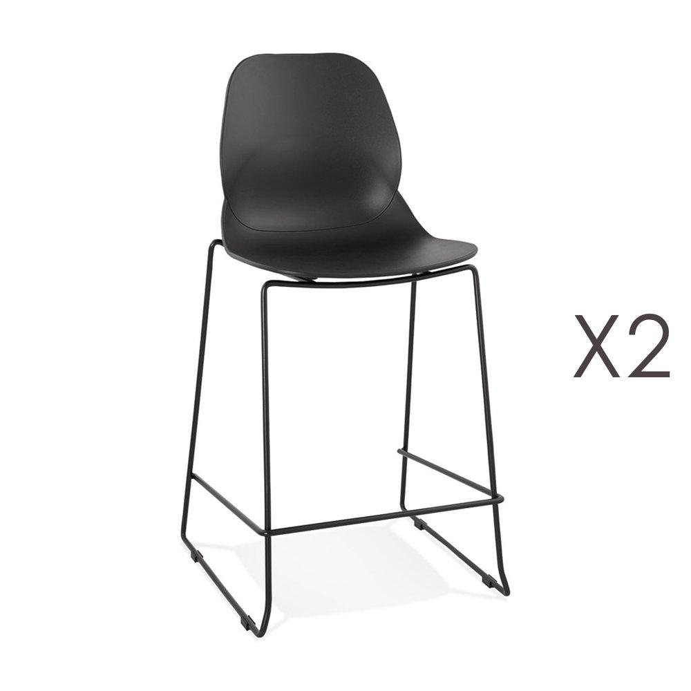 Tabouret de bar - Lot de 2 chaises de bar 52x51,5x101 cm noires pieds noirs - LAYNA photo 1