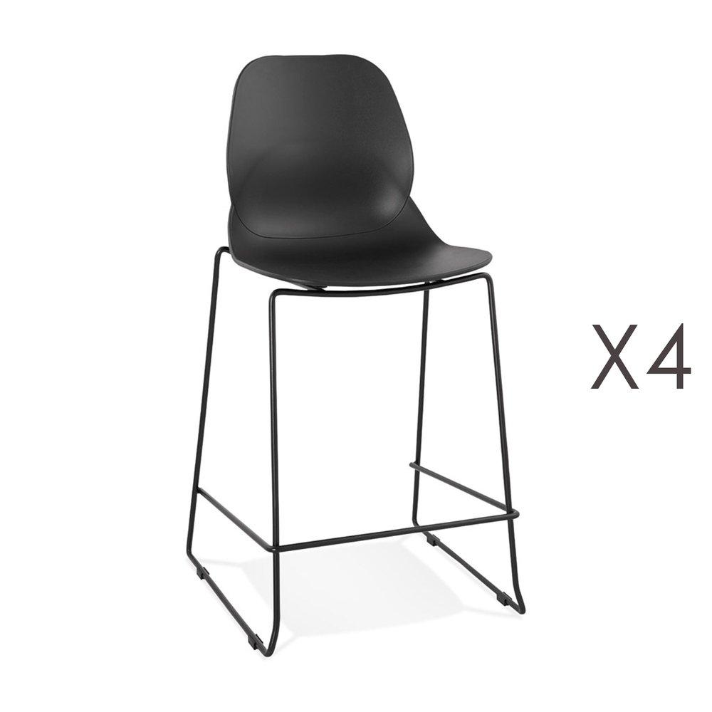 Tabouret de bar - Lot de 4 chaises de bar 52x51,5x101 cm noires pieds noirs - LAYNA photo 1