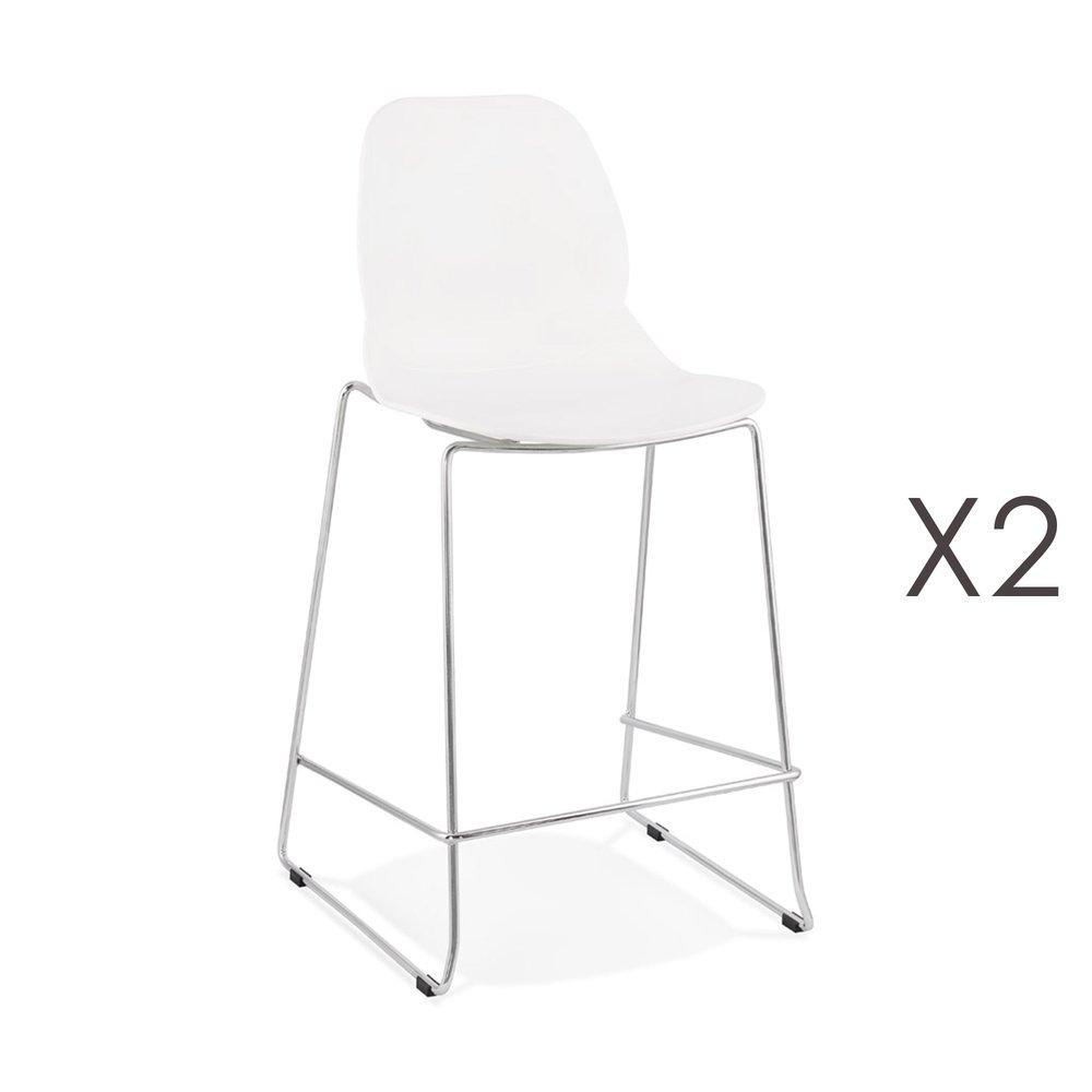 Tabouret de bar - Lot de 2 chaises de bar 52x51,5x101 cm blanches pieds chromés - LAYNA photo 1