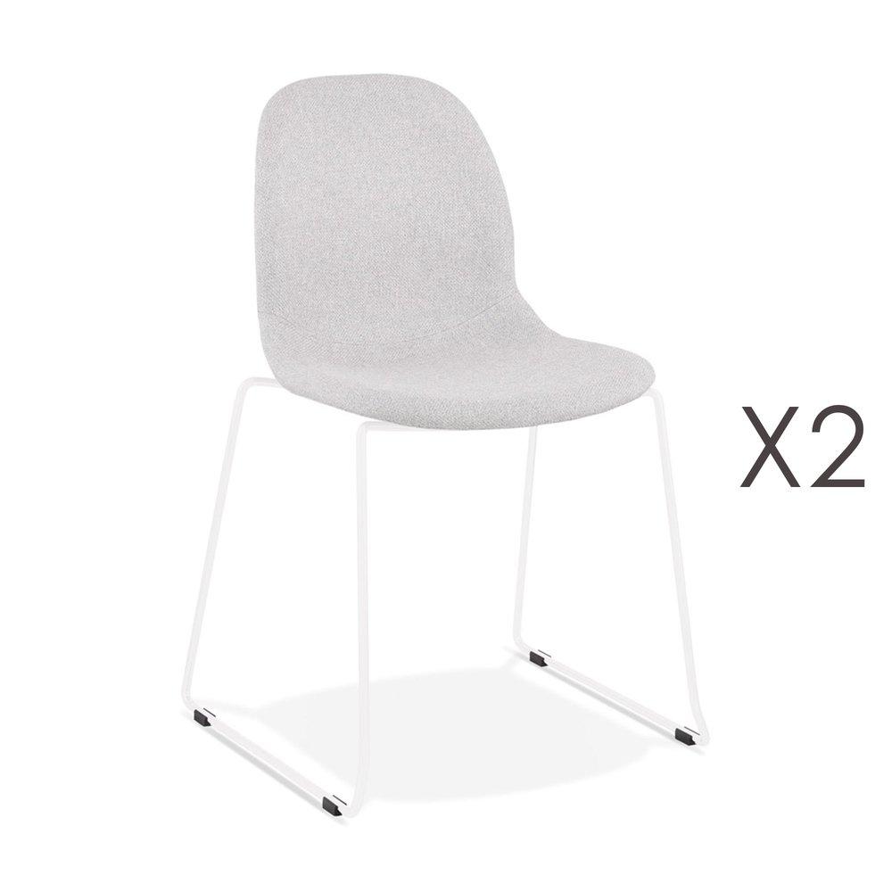 Chaise - Lot de 2 chaises 50x54,5x85 cm tissu gris clair pieds blancs - LAYNA photo 1