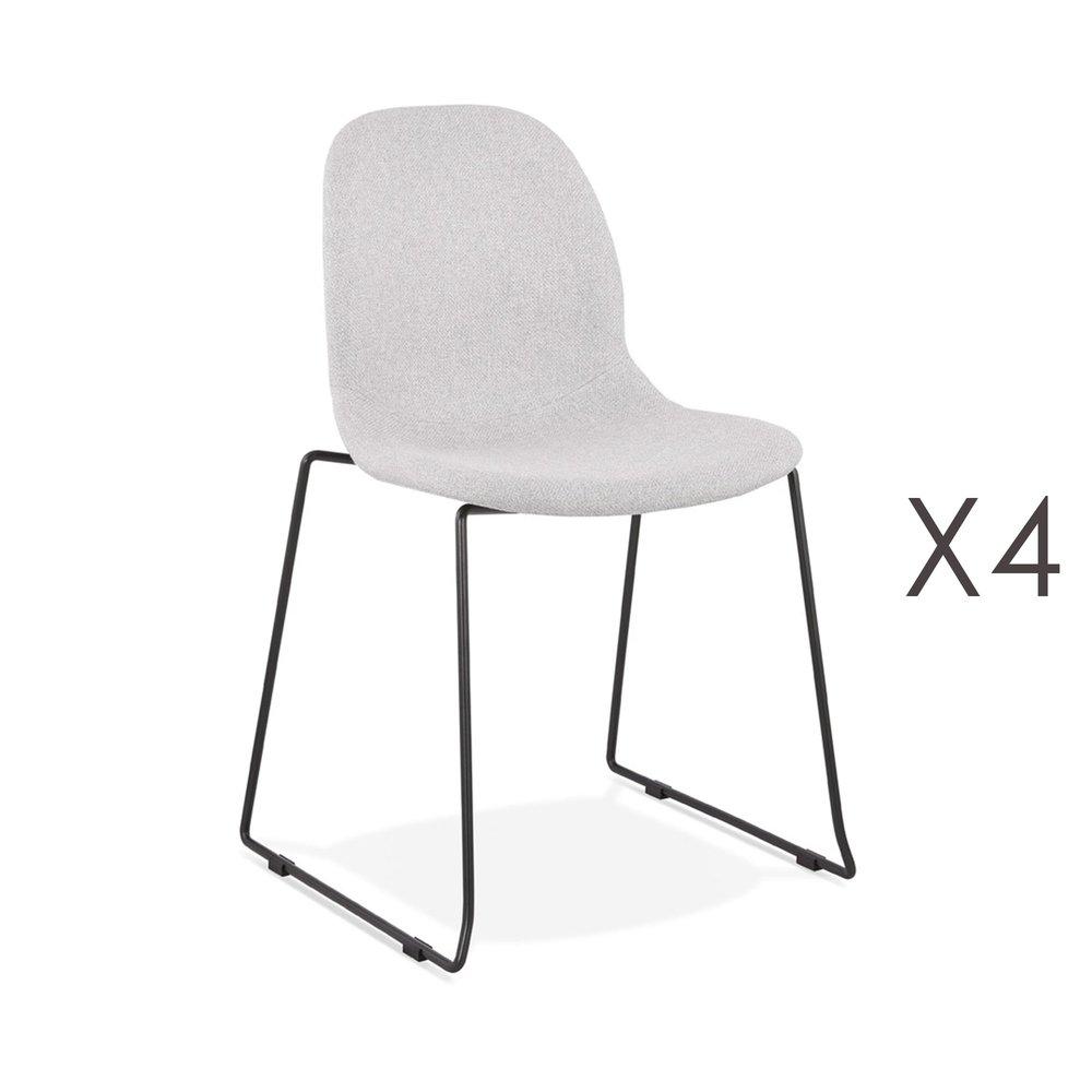Chaise - Lot de 4 chaises 50x54,5x85 cm tissu gris clair pieds noirs - LAYNA photo 1