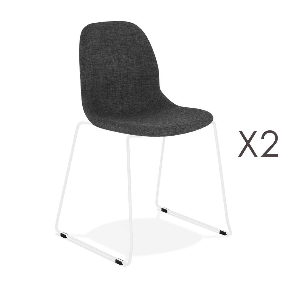 Chaise - Lot de 2 chaises 50x54,5x85 cm tissu gris foncé pieds blancs - LAYNA photo 1