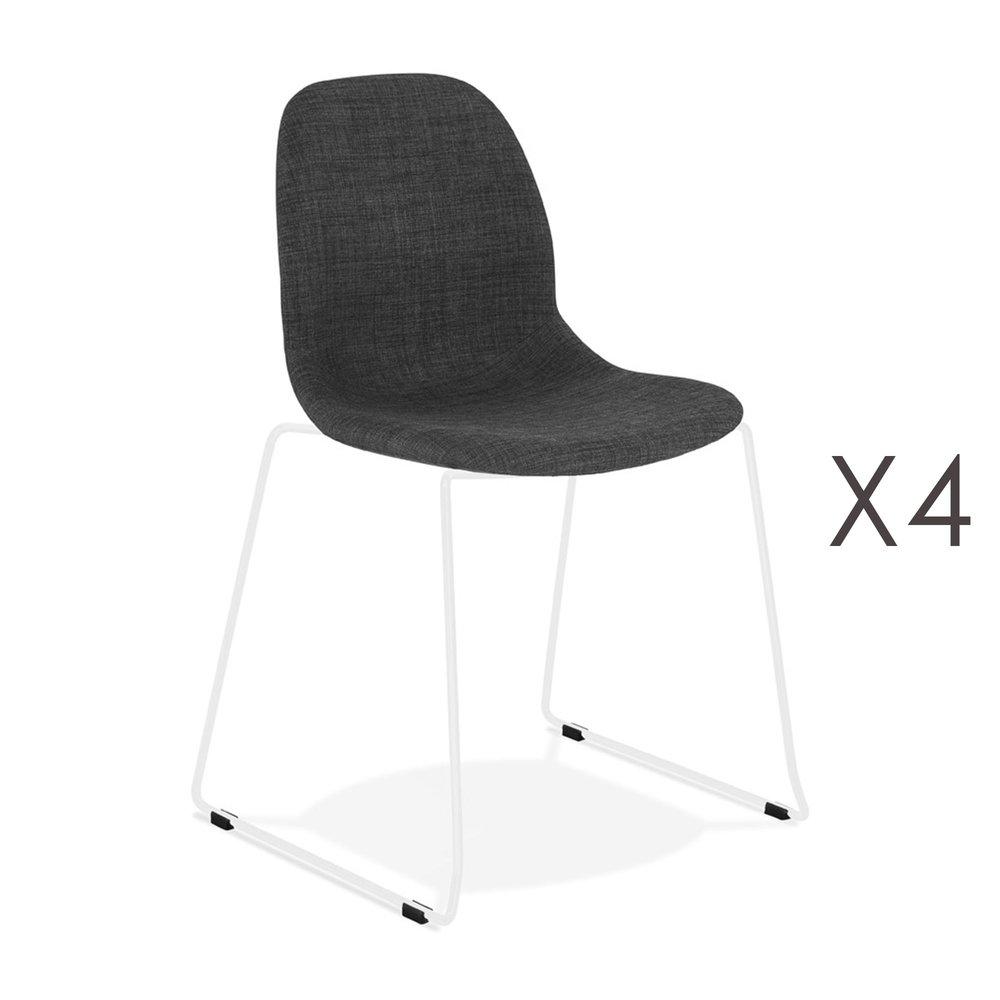 Chaise - Lot de 4 chaises 50x54,5x85 cm tissu gris foncé pieds blancs - LAYNA photo 1