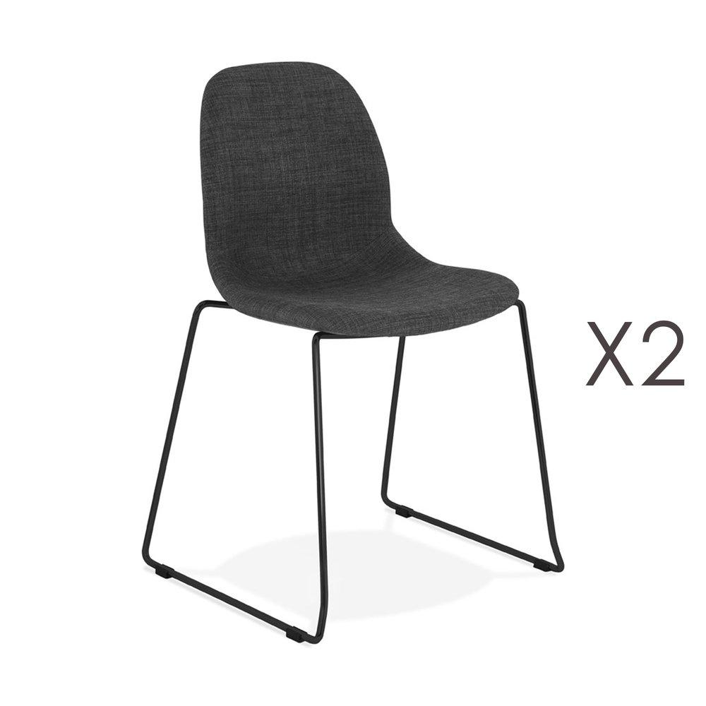 Chaise - Lot de 2 chaises 50x54,5x85 cm tissu gris foncé pieds noirs - LAYNA photo 1