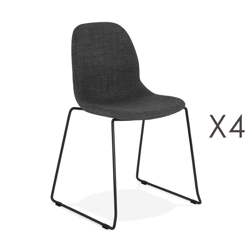 Chaise - Lot de 4 chaises 50x54,5x85 cm tissu gris foncé pieds noirs - LAYNA photo 1