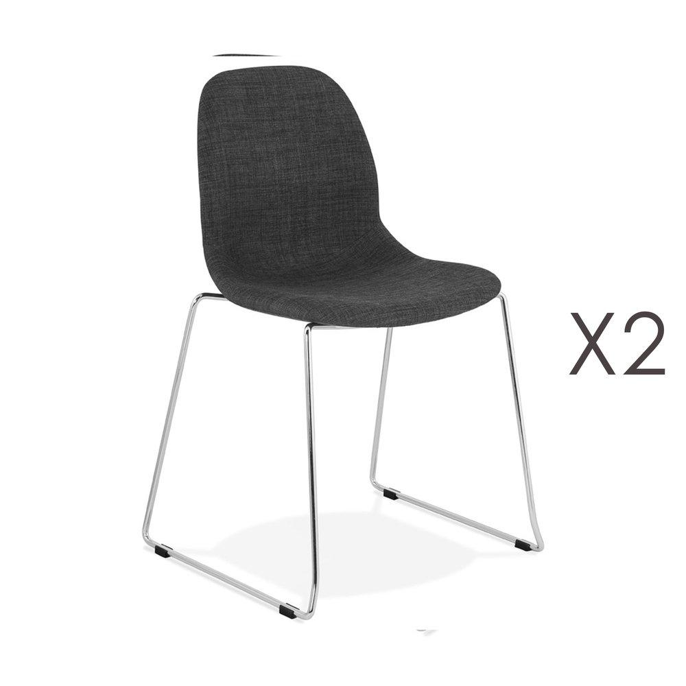 Chaise - Lot de 2 chaises 50x54,5x85 cm tissu gris foncé pieds chromés - LAYNA photo 1