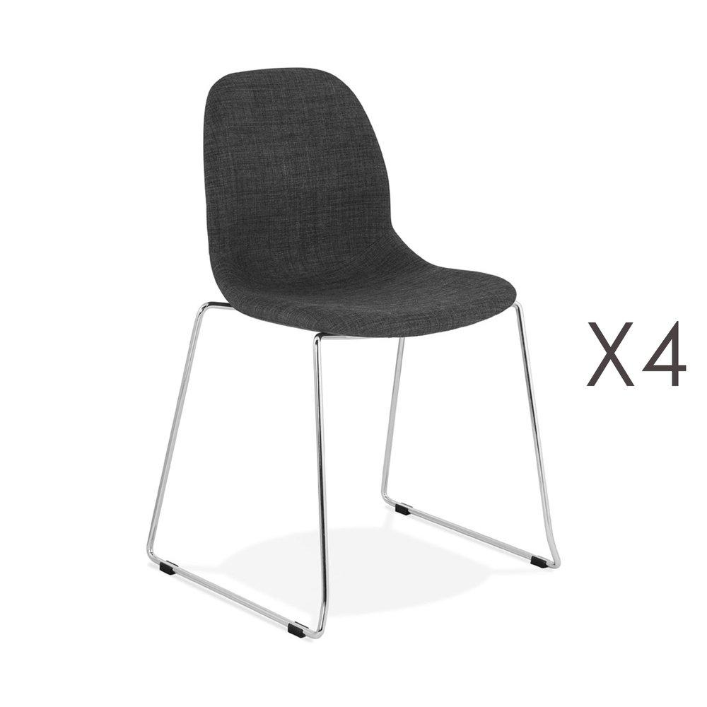 Chaise - Lot de 4 chaises 50x54,5x85 cm tissu noir pieds chromés - LAYNA photo 1
