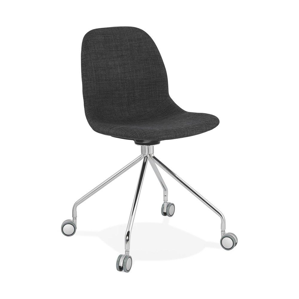 Chaise - Chaise à roulettes 46x49x86 cm en tissu gris foncé - LAYNA photo 1