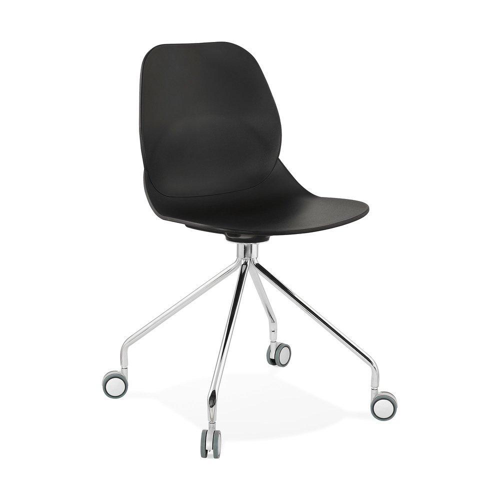Chaise - Chaise à roulettes 46x49x86 cm noires - LAYNA photo 1
