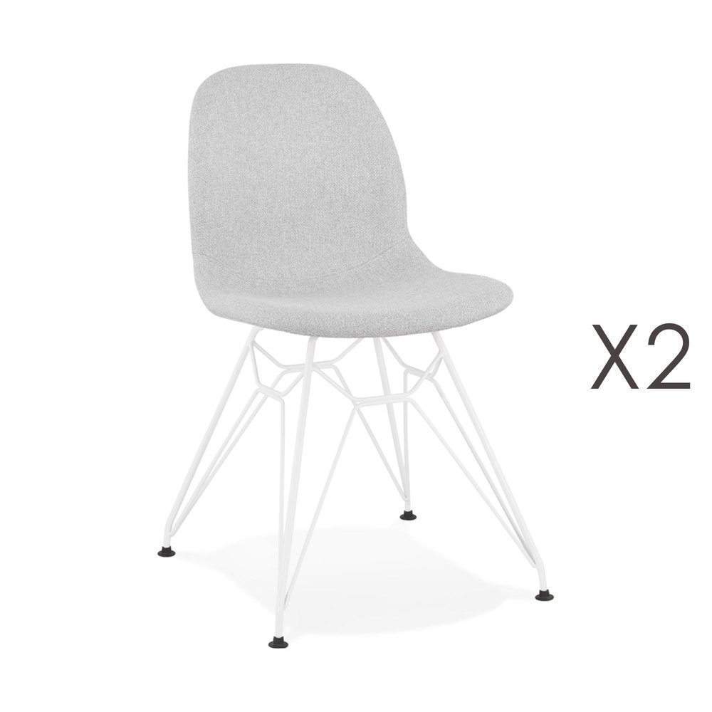 Chaise - Lot de 2 chaises 49x49x83 cm tissu gris clair pieds blancs - LAYNA photo 1