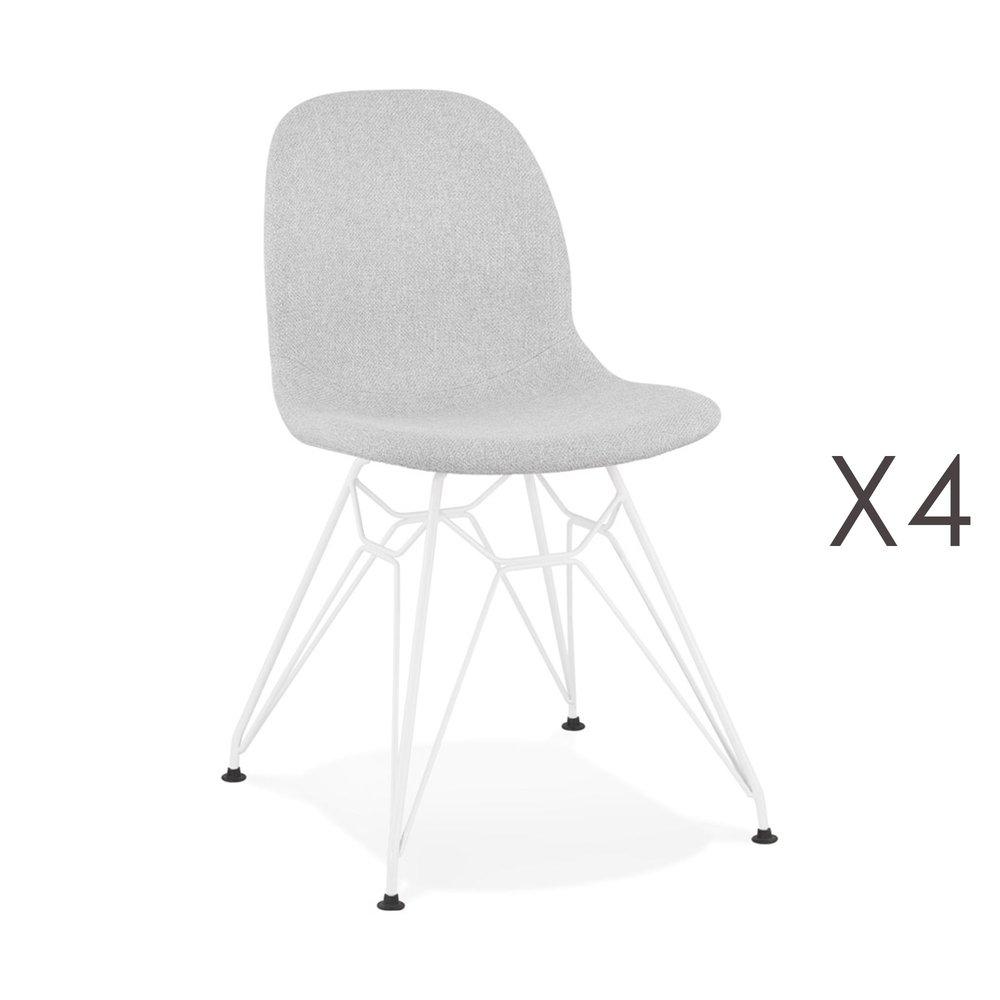 Chaise - Lot de 4 chaises 49x49x83 cm tissu gris clair pieds blancs - LAYNA photo 1
