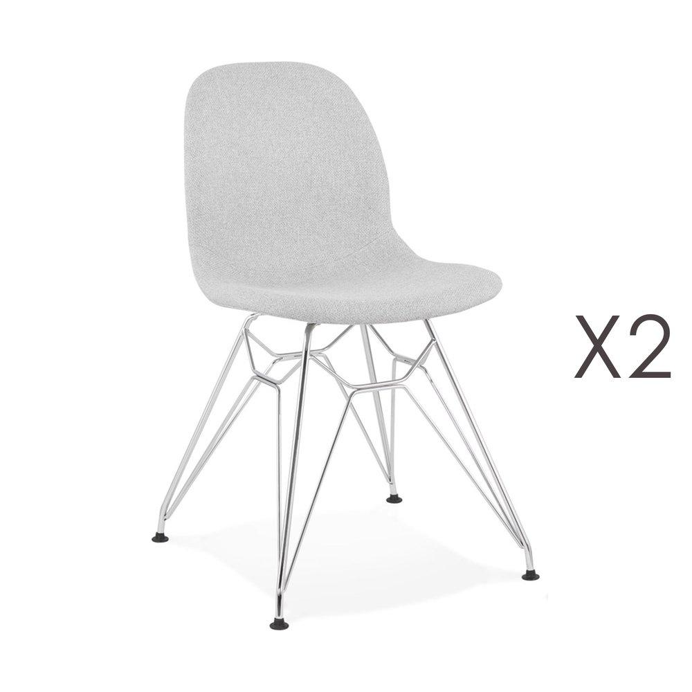 Chaise - Lot de 2 chaises 49x49x83 cm tissu gris clair pieds chromés - LAYNA photo 1