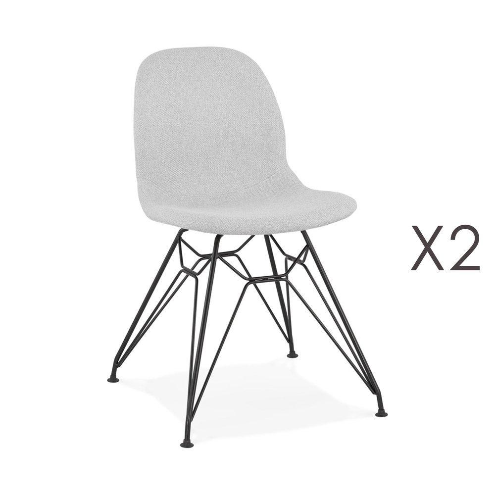 Chaise - Lot de 2 chaises 49x49x83 cm tissu gris clair pieds noirs - LAYNA photo 1