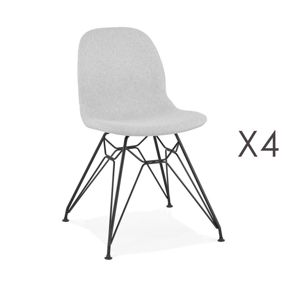 Chaise - Lot de 4 chaises 49x49x83 cm tissu gris clair pieds noirs - LAYNA photo 1