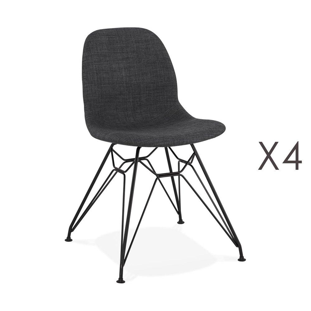 Chaise - Lot de 4 chaises 49x49x83 cm tissu gris foncé pieds noirs - LAYNA photo 1
