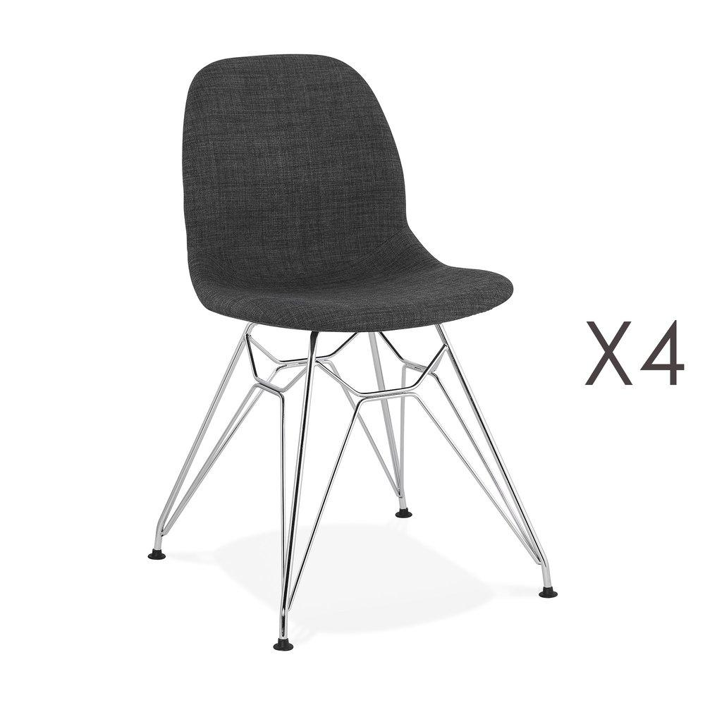 Chaise - Lot de 4 chaises 49x49x83 cm tissu gris foncé pieds chromés - LAYNA photo 1