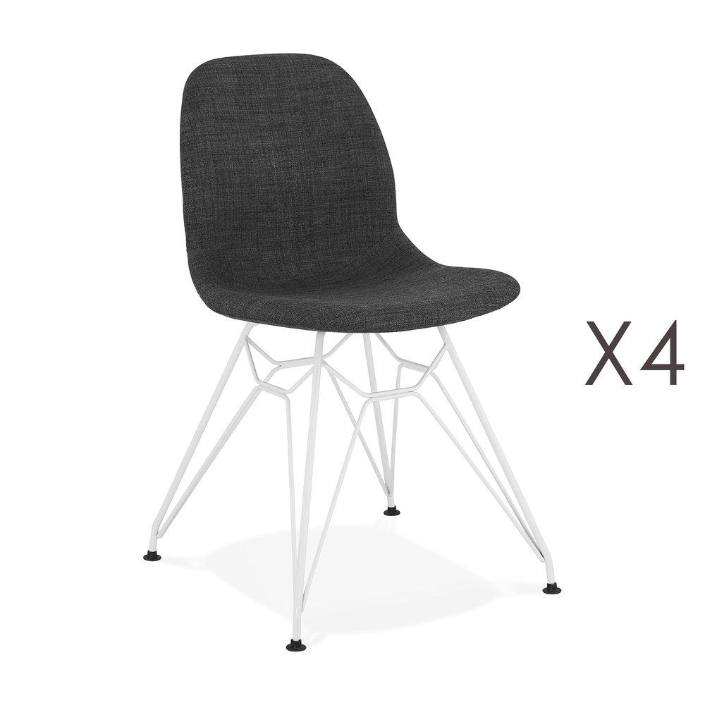 Chaise - Lot de 4 chaises 49x49x83 cm tissu gris foncé pieds blancs - LAYNA photo 1