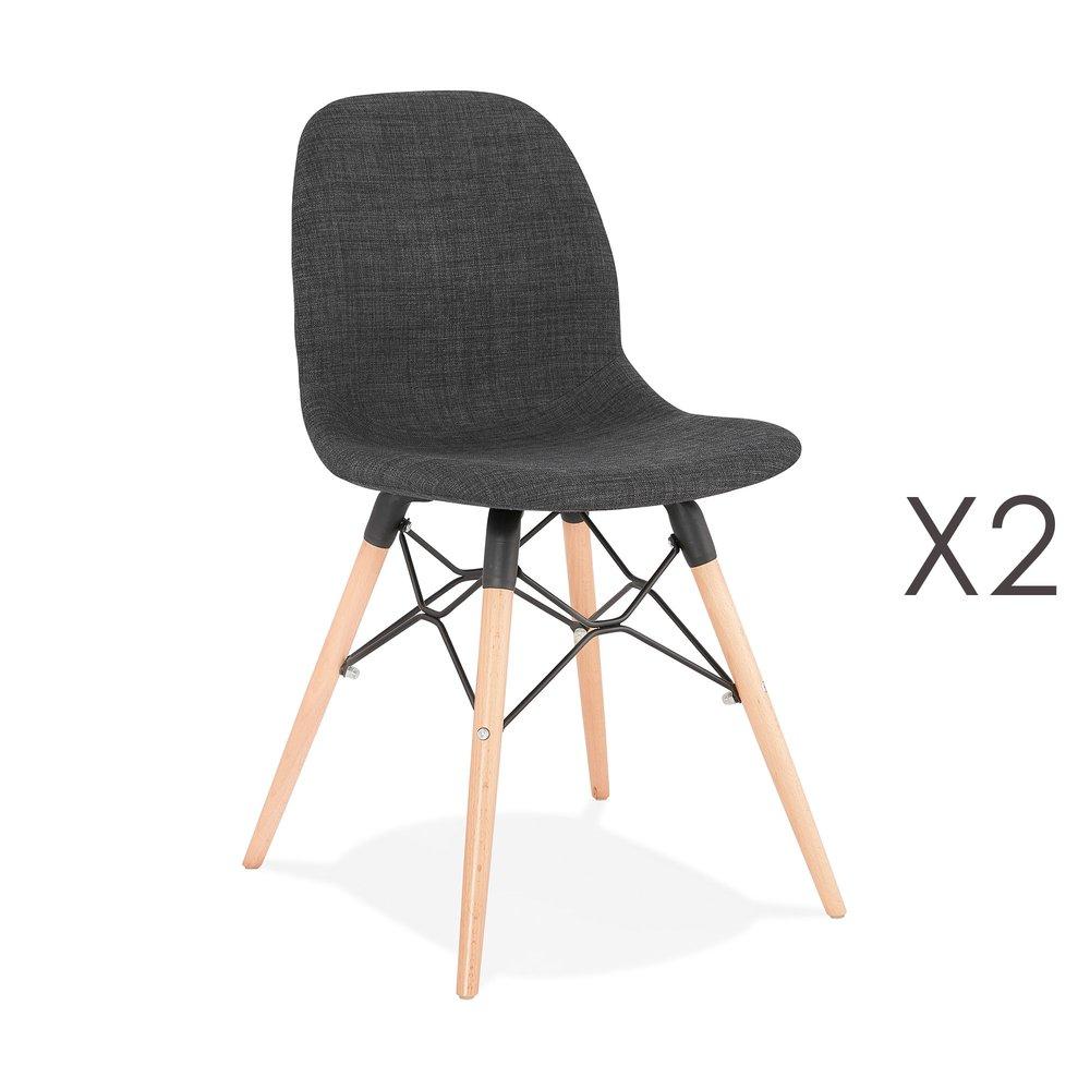 Chaise - Lot de 2 chaises 47x49x84 cm tissu gris foncé pieds naturels - LAYNA photo 1