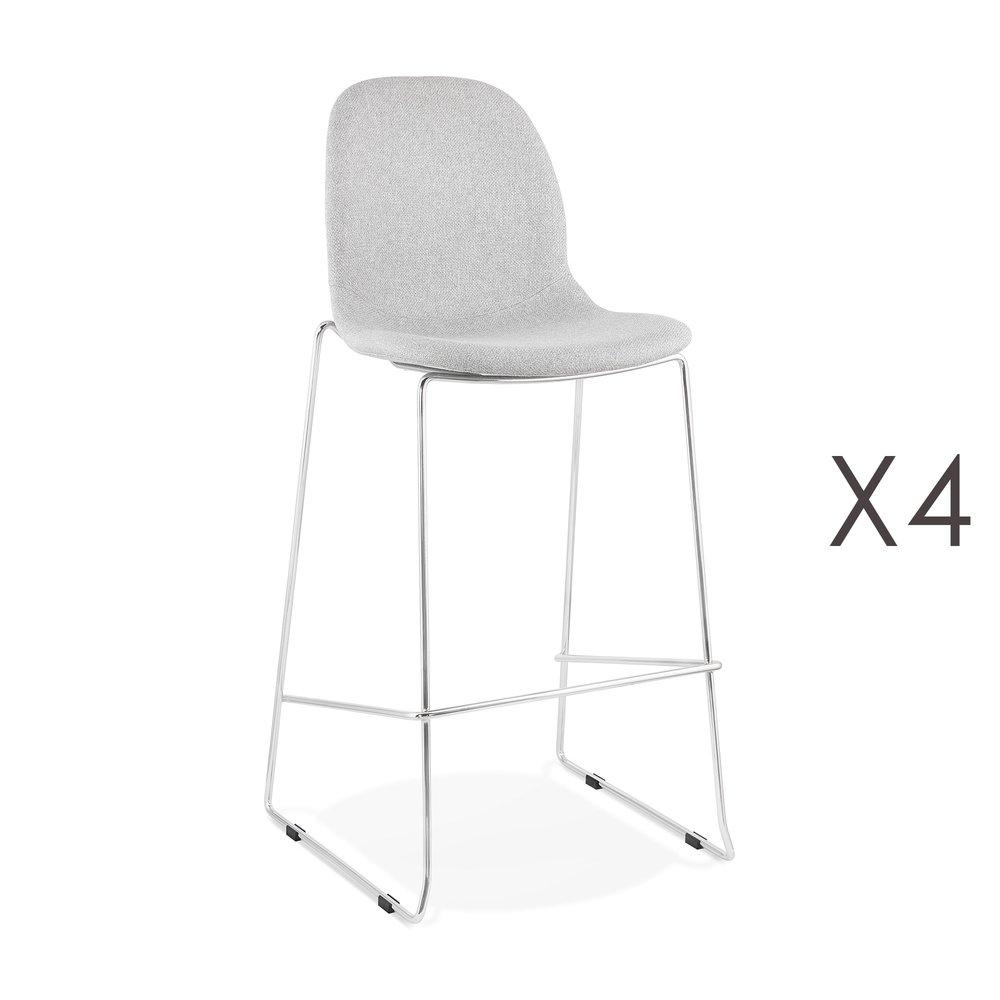 Tabouret de bar - Lot de 4 chaises de bar H76 cm tissu gris clair pieds chromés - LAYNA photo 1