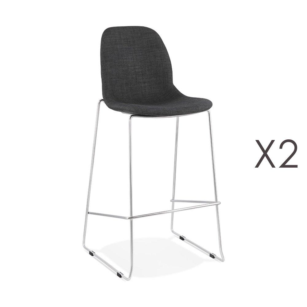 Tabouret de bar - Lot de 2 chaises de bar H76 cm tissu gris foncé pieds chromés - LAYNA photo 1