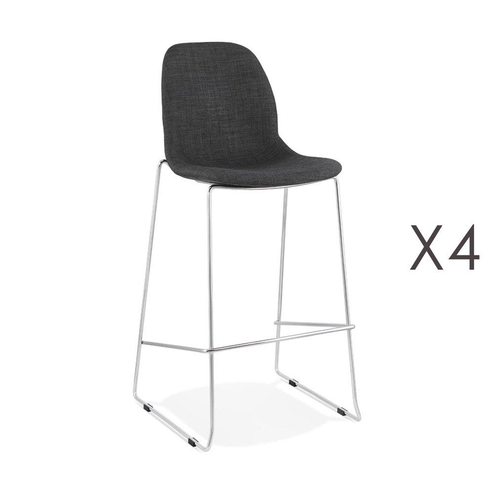 Tabouret de bar - Lot de 4 chaises de bar H76 cm tissu gris foncé pieds chromés - LAYNA photo 1
