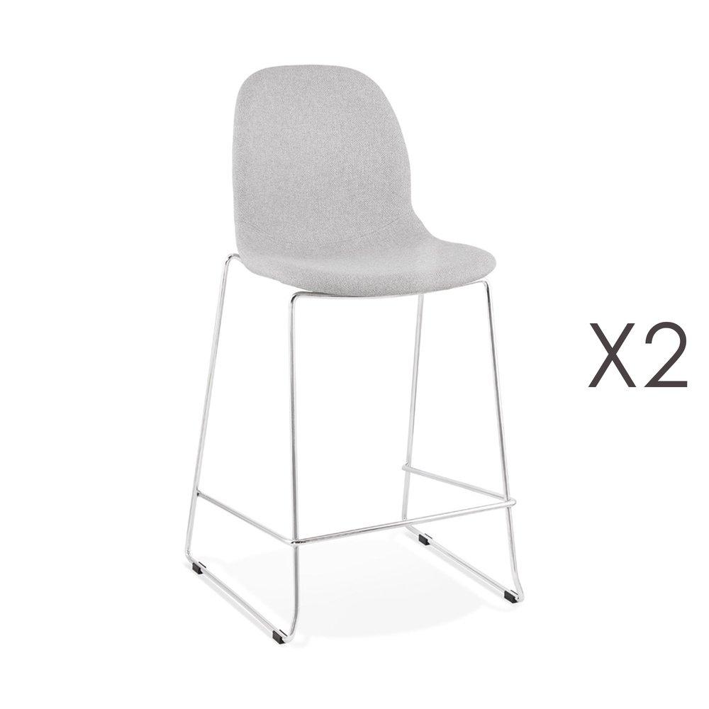 Tabouret de bar - Lot de 2 chaises de bar H67 cm tissu gris clair pieds chromés - LAYNA photo 1