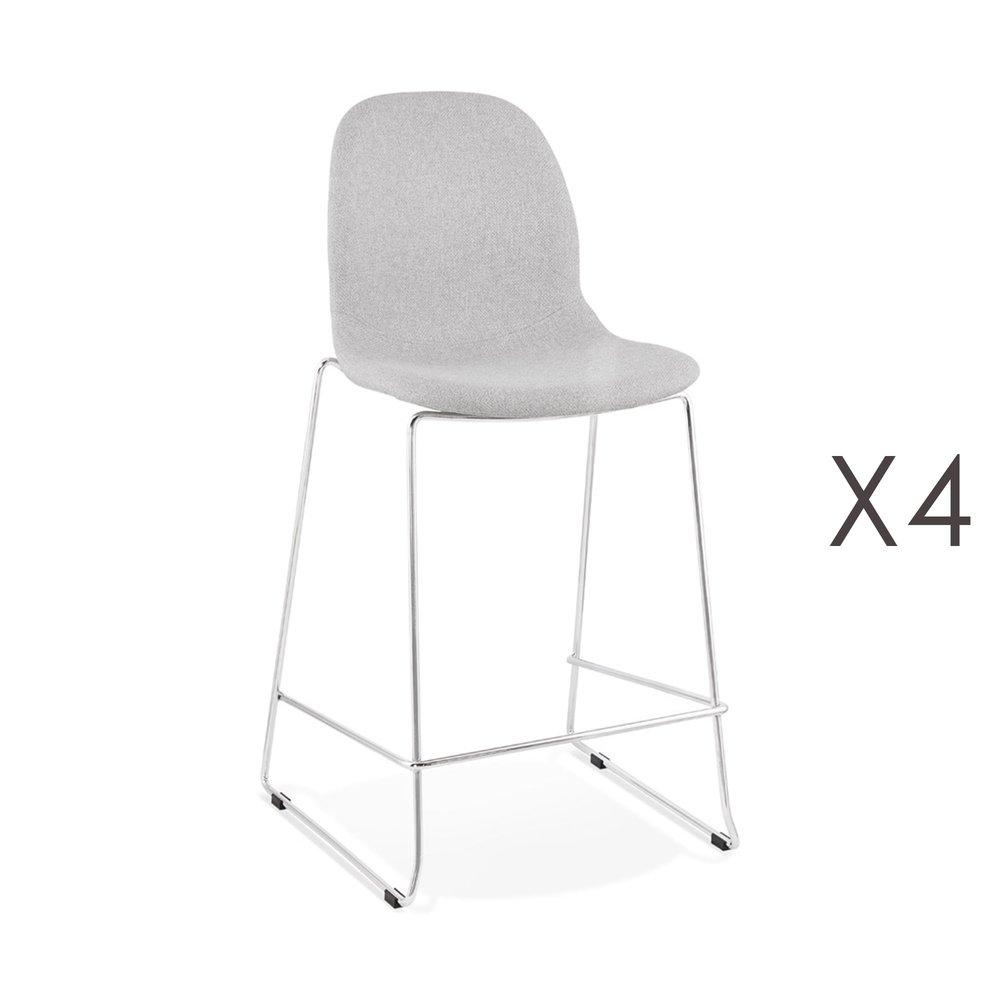 Tabouret de bar - Lot de 4 chaises de bar H67 cm tissu gris clair pieds chromés - LAYNA photo 1