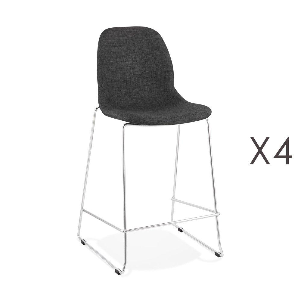 Tabouret de bar - Lot de 4 chaises de bar H67 cm tissu gris foncé pieds chromés - LAYNA photo 1