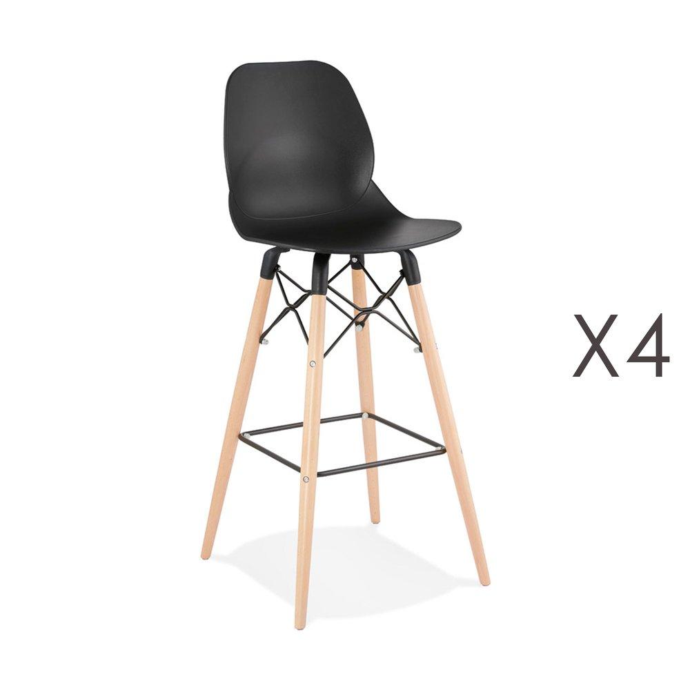 Tabouret de bar - Lot de 4 chaises de bar H75 cm noires et pieds naturels - LAYNA photo 1