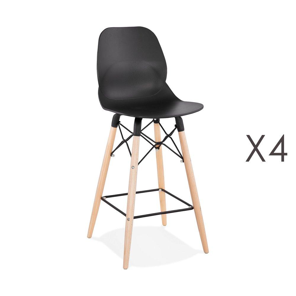 Tabouret de bar - Lot de 4 chaises de bar H68 cm blanches et pieds naturels - LAYNA photo 1