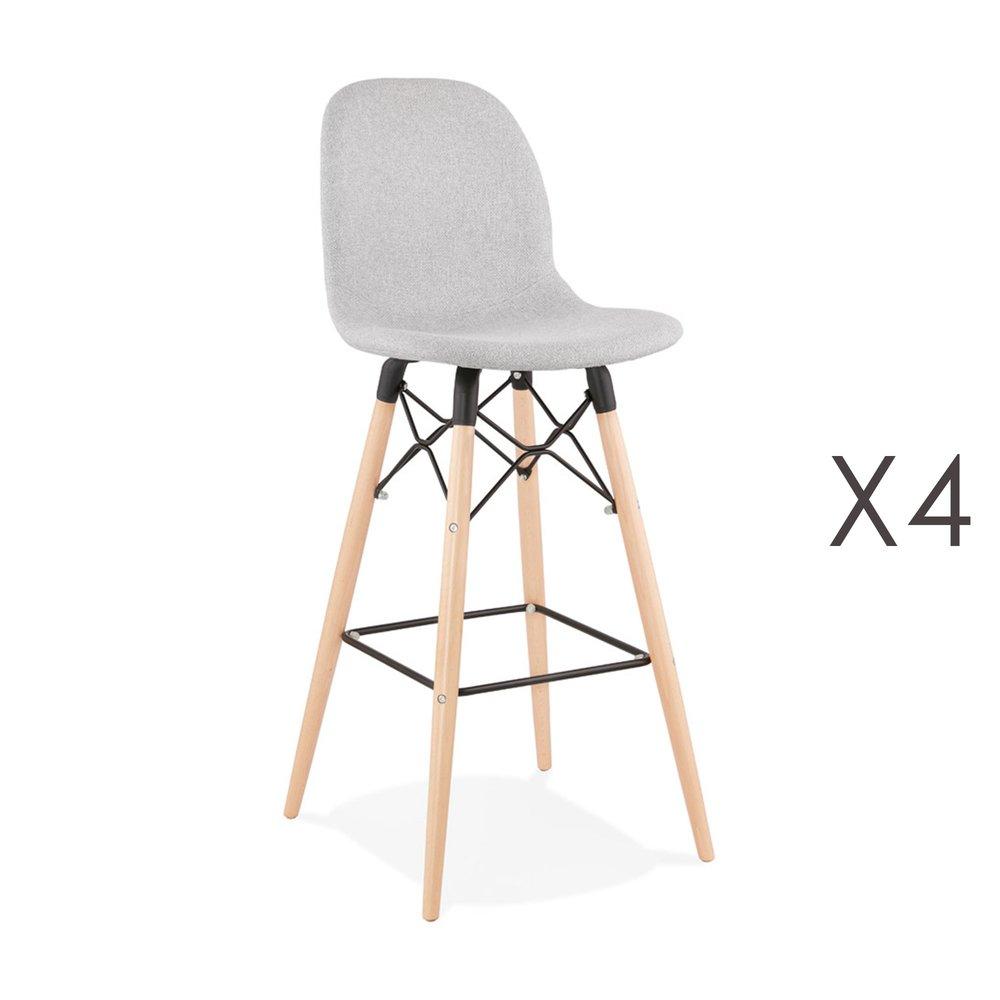 Tabouret de bar - Lot de 4 chaises de bar H75 cm en tissu gris clair - MOANA photo 1