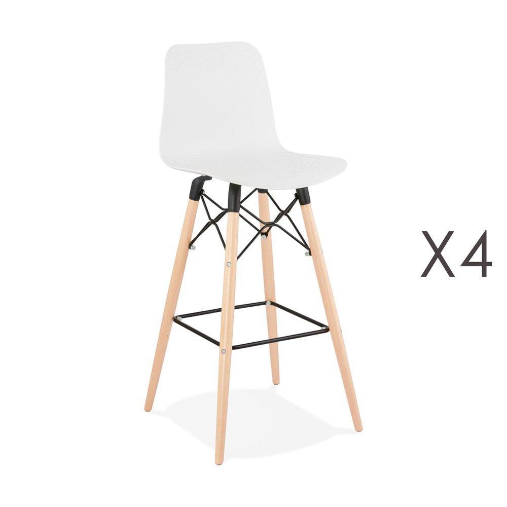 Tabouret de bar - Lot de 4 chaises de bar H76 cm blanches et pieds naturels - YAREN photo 1