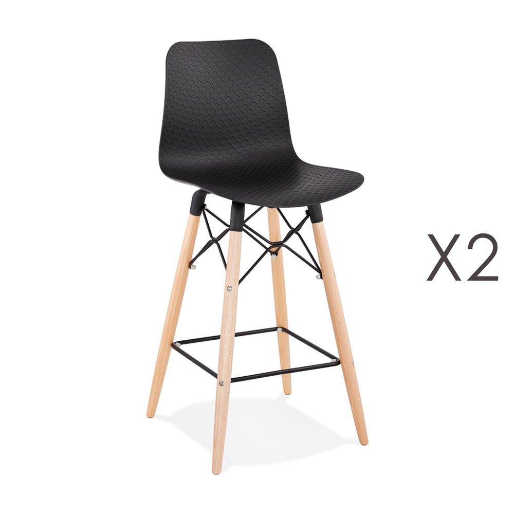 Tabouret de bar - Lot de 2 chaises de bar H69 cm noirs et pieds naturels - YAREN photo 1
