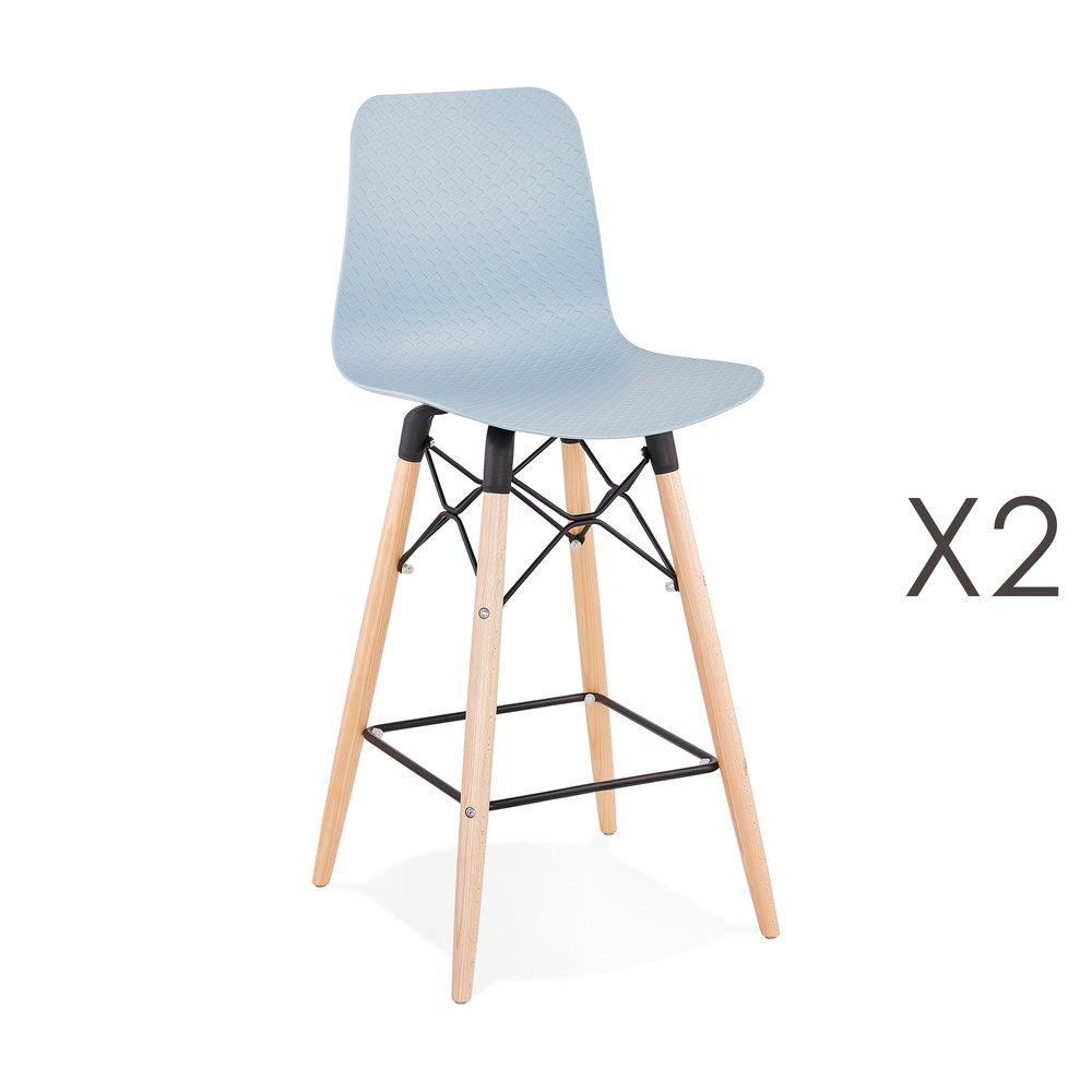 Tabouret de bar - Lot de 2 chaises de bar H69 cm bleues et pieds naturels - YAREN photo 1
