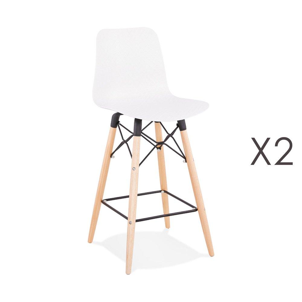 Tabouret de bar - Lot de 2 chaises de bar H69 cm blanches et pieds naturels - YAREN photo 1